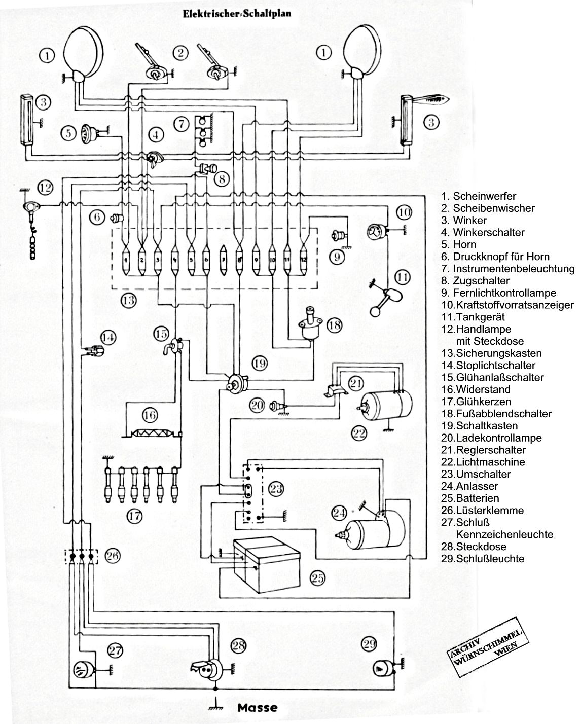 Borgward B511 Schaltplan